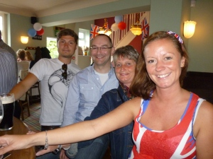 Adam, his mum, sister and great friend Martin at the Jubilee party