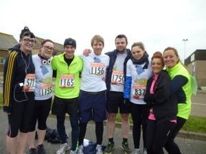 Most of the team before the run, a couple of late comers missed the photo... ooops